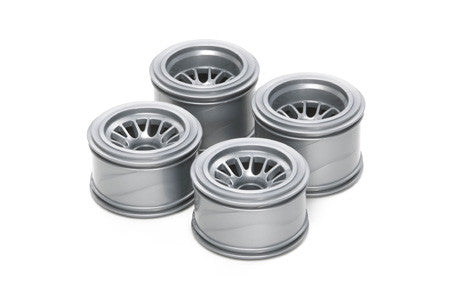 TAMIYA RC F104 Mesh Wheel Set Silver - For Rubber Tires - 51398 - ActivRC