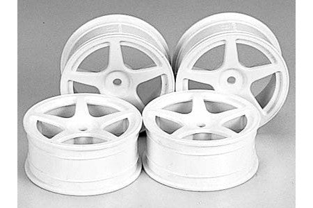 TAMIYA RC 24mm 5-Spoke Wheels 4pcs - White/+0 - 53471 - ActivRC