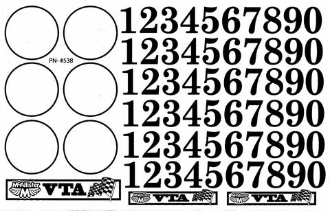 McALLISTER VTA Racing Number Decal - 538