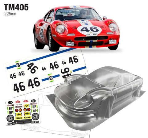 TEAM C Mini Dino 246 225mm Clear Body - TM405
