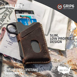 GRIP6 Brown Leather Jacket for Slim Minimalist Wallet