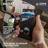GRIP6 Slim Minimalist Wallet RFID - Gunmetal with Loop and Brown Leather Jacket