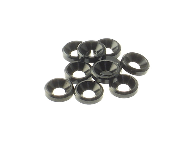 HIRO SEIKO 3mm Alloy Countersunk Washer (10 pcs) (Black) - 69253