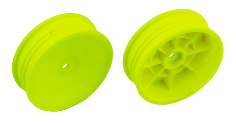"TEAM ASSOCIATED 12mm Hex 2WD 2.2"" Slim Front Buggy Wheels B6 Yellow - 91758"