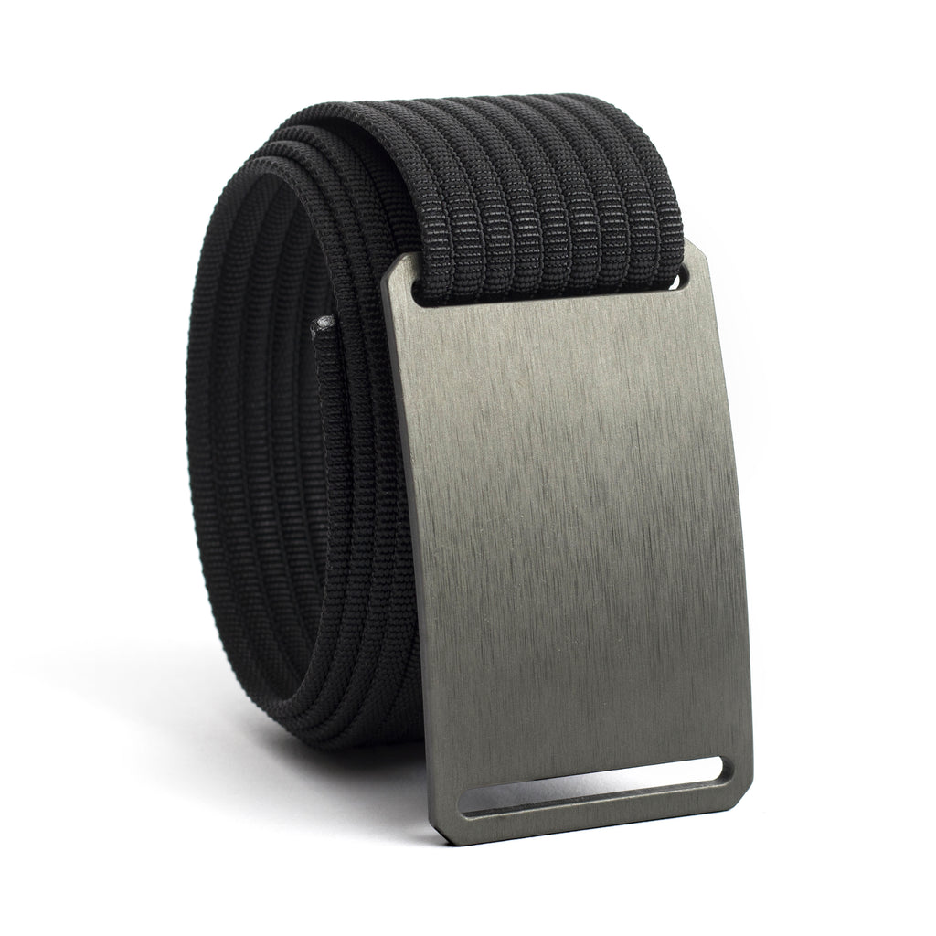 GRIP6 Classic Series Belt - Gunmetal Aluminum Buckle with Black Strap - 36 Inch