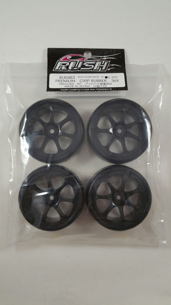 RUSH Premium Grip Type 36X Premount GT Seven Spoke Black Wheels - RU-0483