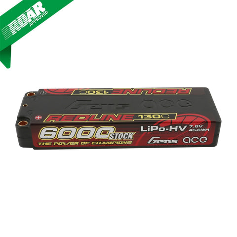 GENS ACE Redline Series 6000mAh 7.6V 130C 2S2P Hard Case HV Lipo Battery
