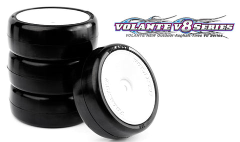 VOLANTE V8T 32R Rubber Tire Pre-Glued 4 pcs (Dish Wheel) - V8T-PG32R