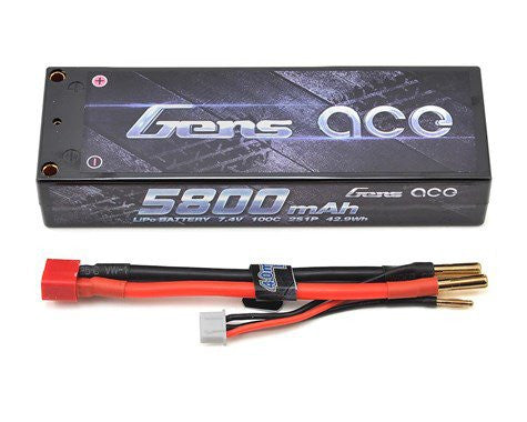 Gens Ace 2s LiPo Battery Pack 100C w/4mm Bullet (7.4V/5800mAh) - GA-B1001