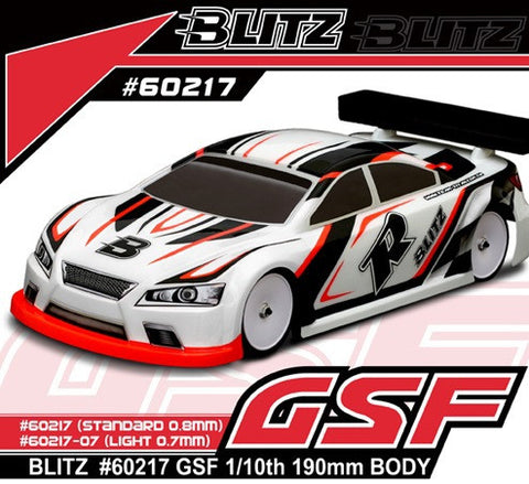 BLITZ GSF 1/10th EP 190mm TOURING CAR BODY (0.7mm) - 60217-07 - ActivRC - 1