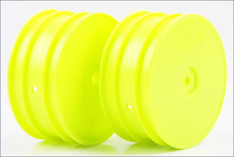 KYOSHO 12mm Hex 4WD Front Buggy Wheels 56mm Flush ZX6 Yellow - W5201