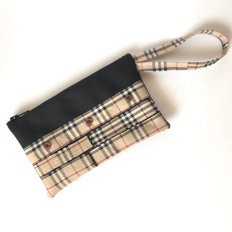 Authentic Repurposed Burberry Patchwork Clutch / Wristlet