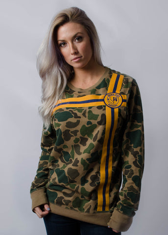 Camo Sweatshirt With Vintage Patch And Matching Trim
