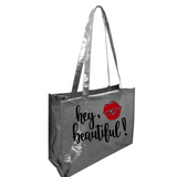 Hey Beautiful Metallic Tote Bag Silver