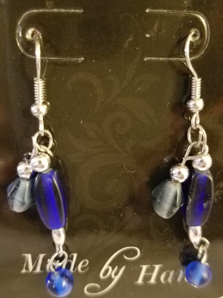 Handmade Blue Glass Bead Dangle Earrings