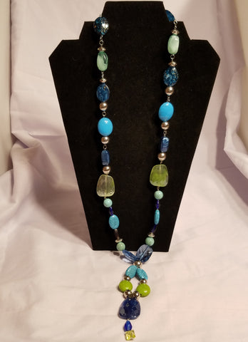 Handmade Jewelry - Tropical Blue Colors Necklace Set