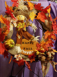 Happy Fall Scarecrow Wreath