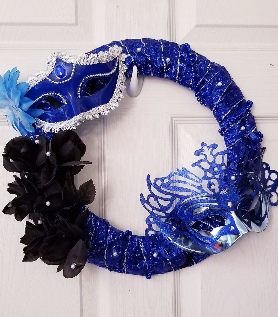 Blue Masquerade Wreath