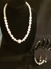 Load image into Gallery viewer, Women's Pearl Necklace, Bracelet, and Earring Set