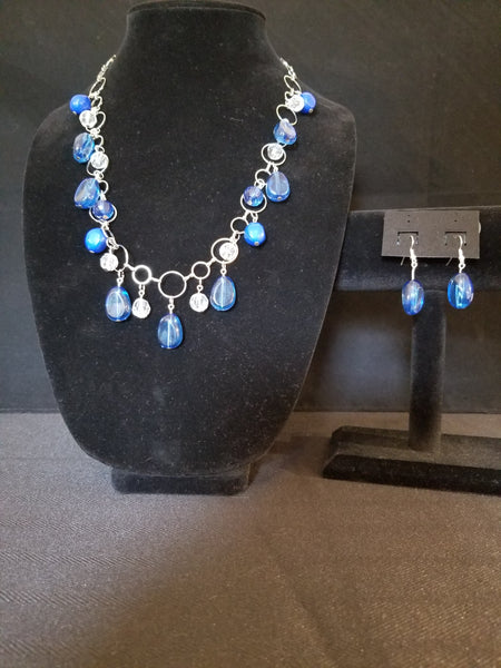 Women's Fashion Necklace and Earring Set Blue and Silver