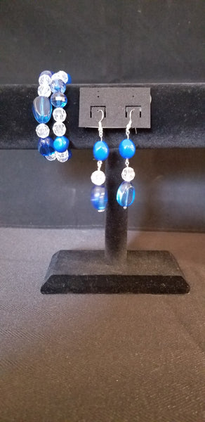 Women's Bracelet and Earring Set Blue and Clear Beads