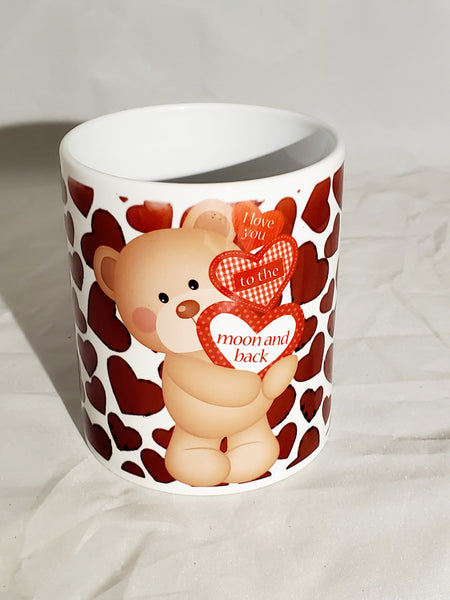 I Love You To The Moon & Back Valentine Teddy Bear Sublimation Ceramic Mug