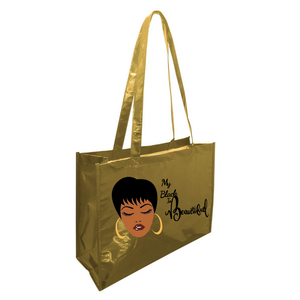 My Black is Beautiful Metallic Tote Bag