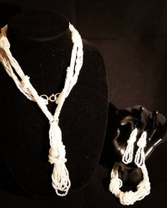 Homemade Looped Strand Necklace, Bracelet.  & Earrings Set