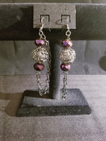 Women's Fashion Earrings Purple and Graphite Dangle with Chain Accent