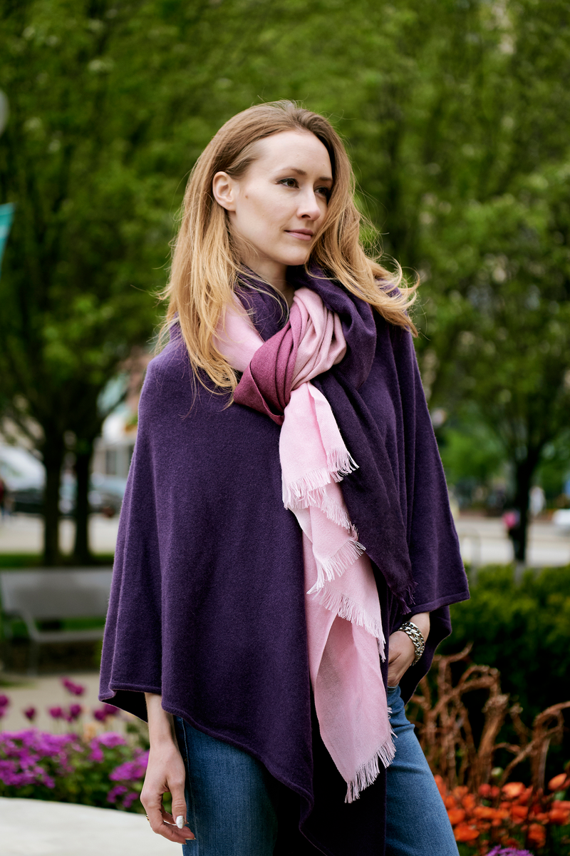 Purple Ombré Hand Woven Winter Cashmere Scarf, Scarves - Loveknitz
