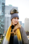 Reversible Slouchy Black and Grey Striped Cashmere Hat with Black Pom-Pom