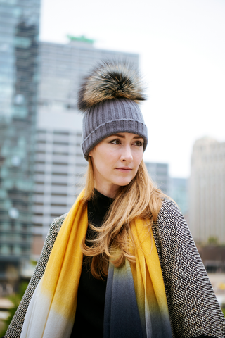 Reversible Slouchy Caramel Cashmere Hat with Blue Heart