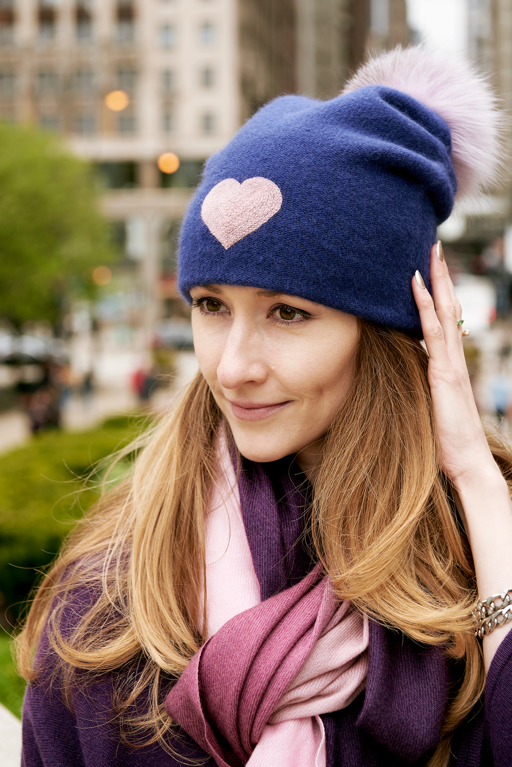 Reversible Slouchy Blue Cashmere Hat with Lilac Heart and Lilac Pom-Pom