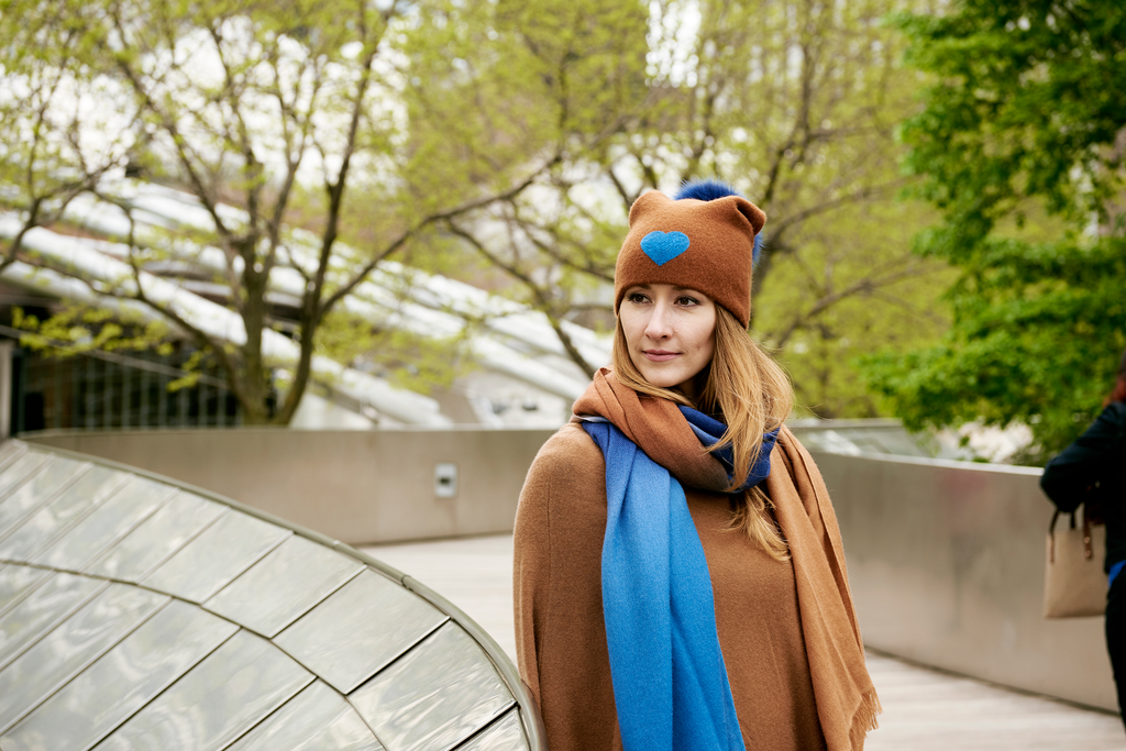 Reversible Slouchy Caramel Cashmere Hat with Blue Heart and Electric Blue Pom-Pom, Hat - Loveknitz