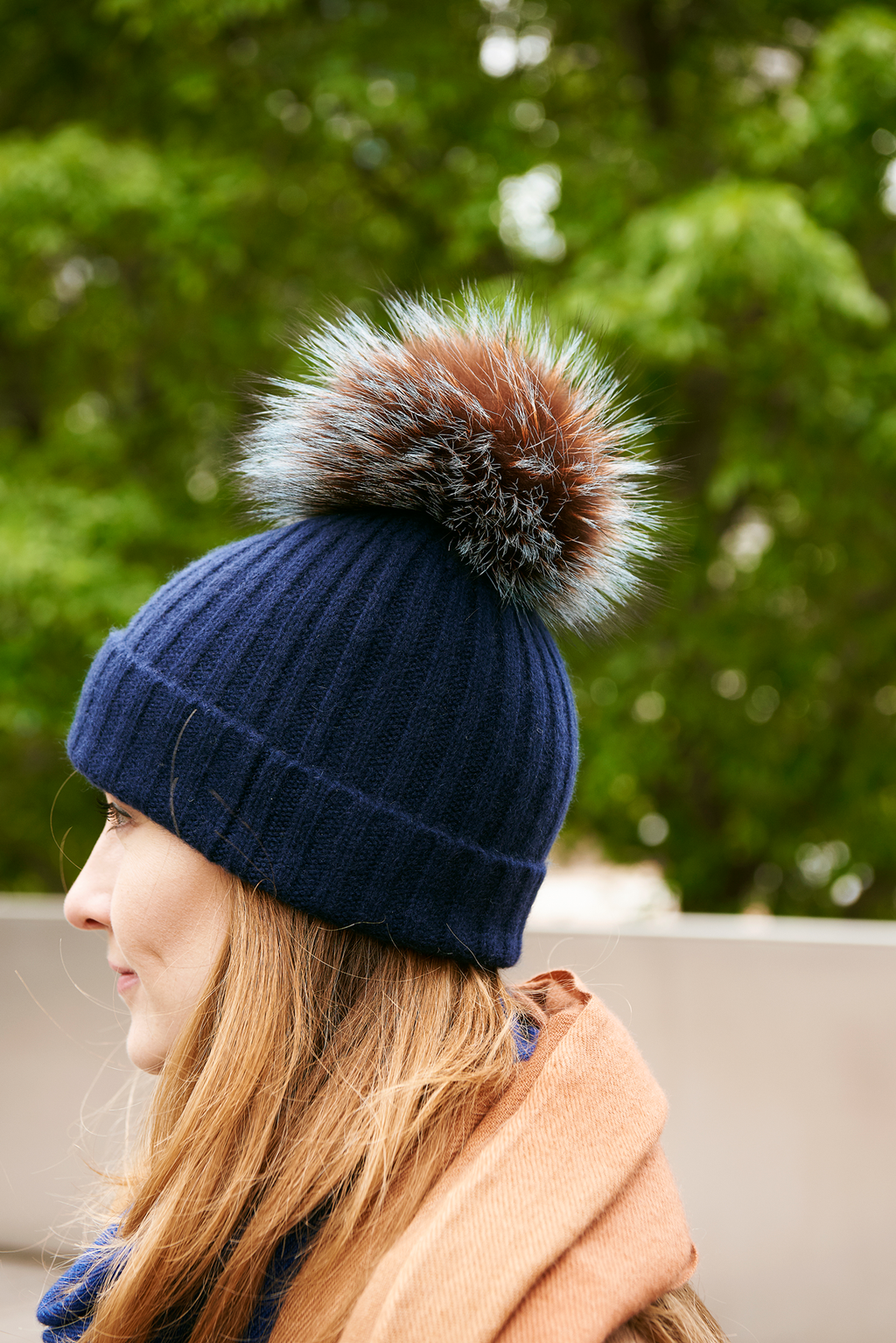 Ribbed Navy Cashmere Hat with Pine Mist Pom-Pom, Hat - Loveknitz