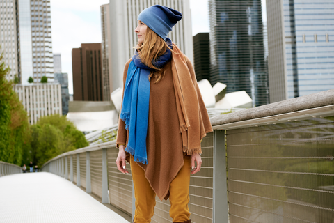Blue with Red Stripe Cashmere Pancho