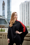 Black with Red Stripe Cashmere Pancho, Poncho - Loveknitz