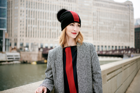 Reversible Slouchy Black Cashmere Hat with Red Heart and Black Pom-Pom