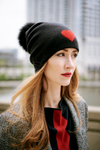 Reversible Slouchy Black Cashmere Hat with Red Heart and Black Pom-Pom, Hat - Loveknitz