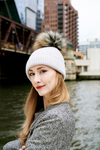 Reversible Slouchy Light Grey Cashmere Hat with White Heart and Pine Mist Pom-Pom