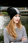 Reversible Slouchy Black and Grey Striped Cashmere Hat with Black Pom-Pom, Hat - Loveknitz