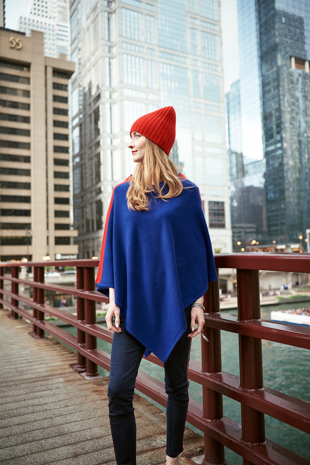 Blue with Red Stripe Cashmere Pancho, Poncho - Loveknitz