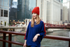 Pearl Stitched Blue Ombré Cashmere Hat with Electric Blue Pom-Pom