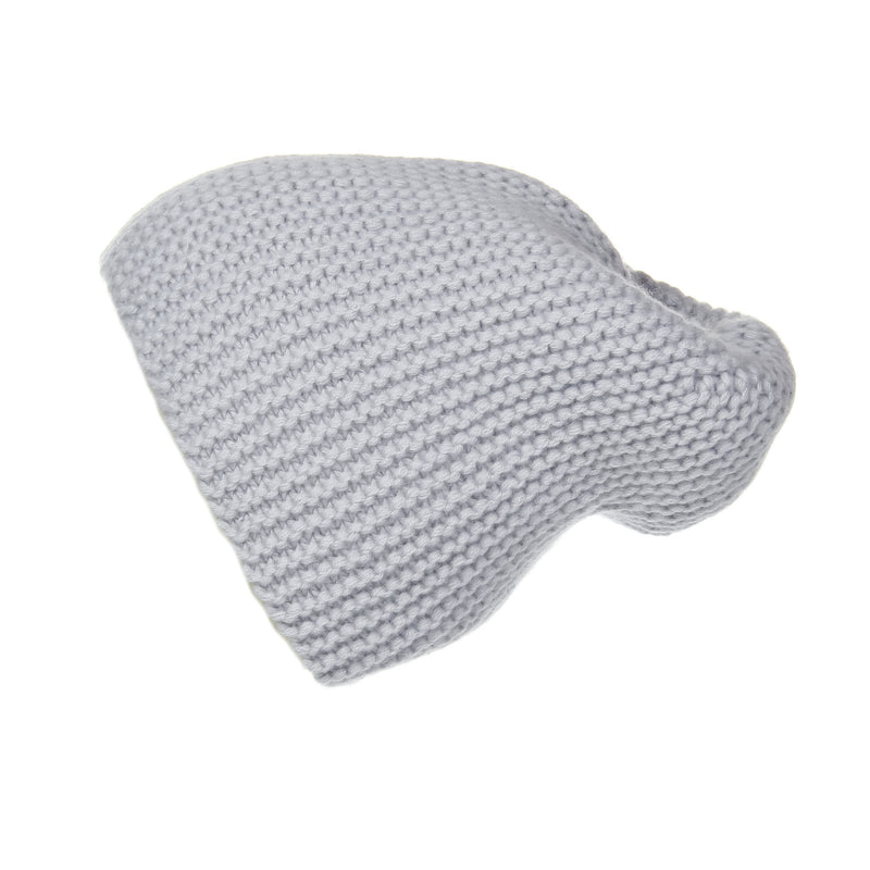 Pearl Stitched Light Grey Cashmere Hat, Hat - Loveknitz