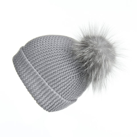 Pearl Stitched Light Blue Cashmere Hat with Light Grey Pom-Pom
