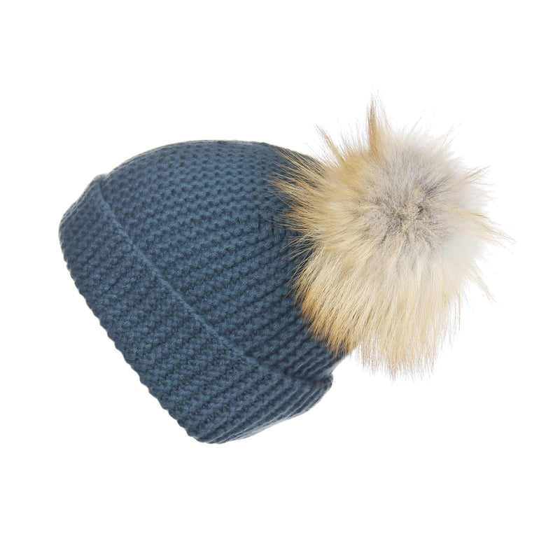 Pearl Stitched Silver Pine Cashmere Hat with Light Caramel Pom, Hat with Pom - Loveknitz