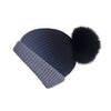 Pearl Stitched Black Ombré Cashmere Hat with Black Pom-Pom, Hat with Pom - Loveknitz