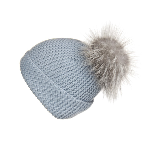Fold-Over Ivory Cashmere Hat with Light Caramel Pom-Pom