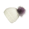 Fold-Over Ivory Cashmere Hat with Lilac Pom-Pom, Hat with Pom - Loveknitz