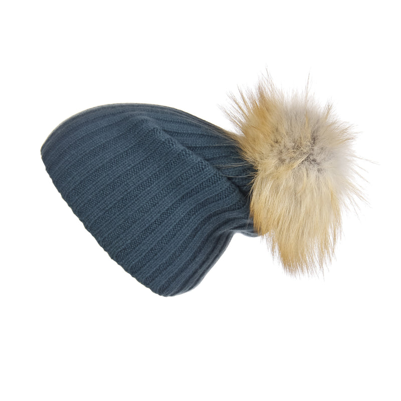 Ribbed Silver Pine Cashmere Hat with Light Caramel Pom-Pom, Hat with Pom - Loveknitz